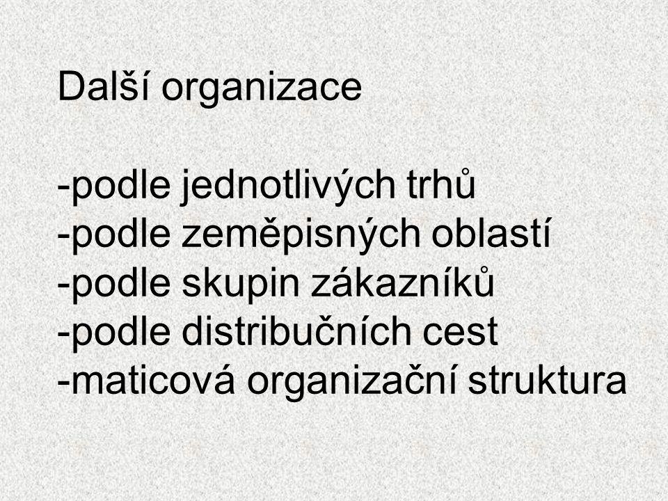 Další organizace -podle jednotlivých trhů -podle zeměpisných oblastí -podle skupin zákazníků -podle distribučních cest -maticová organizační struktura