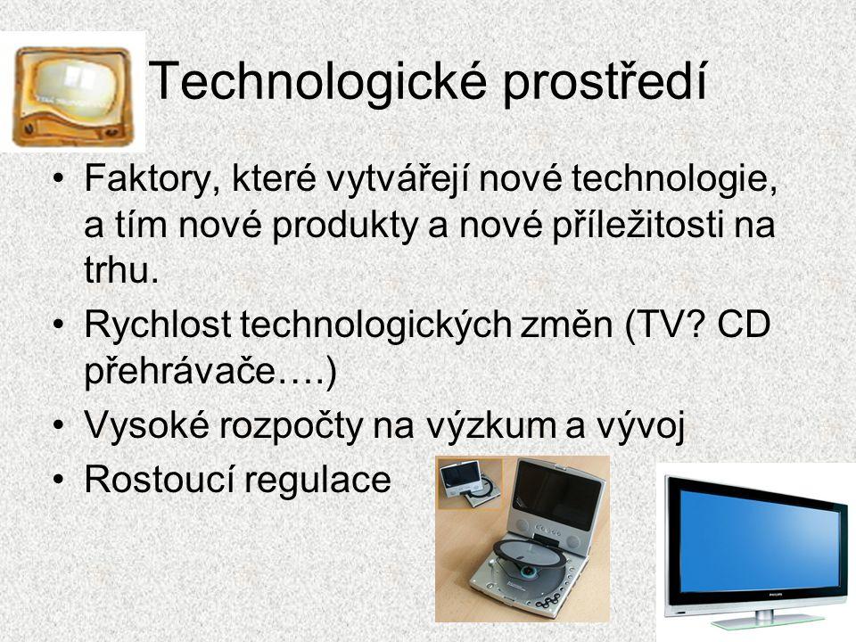 Technologické prostředí Faktory, které vytvářejí nové technologie, a tím nové produkty a nové příležitosti na trhu.