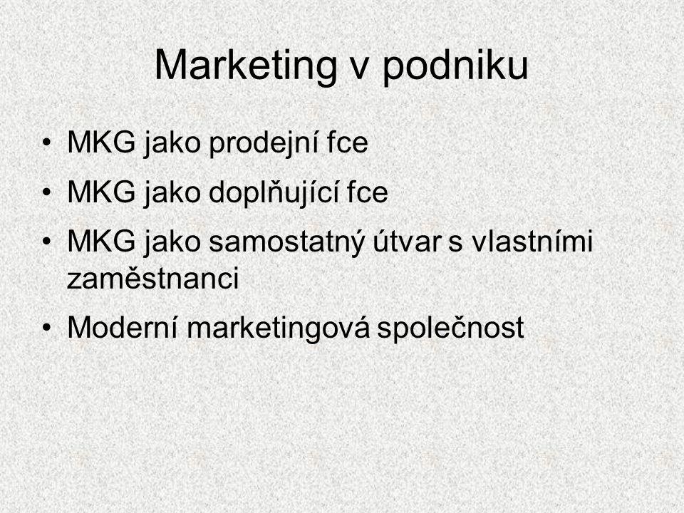 Marketing v podniku MKG jako prodejní fce MKG jako doplňující fce MKG jako samostatný útvar s vlastními zaměstnanci Moderní marketingová společnost