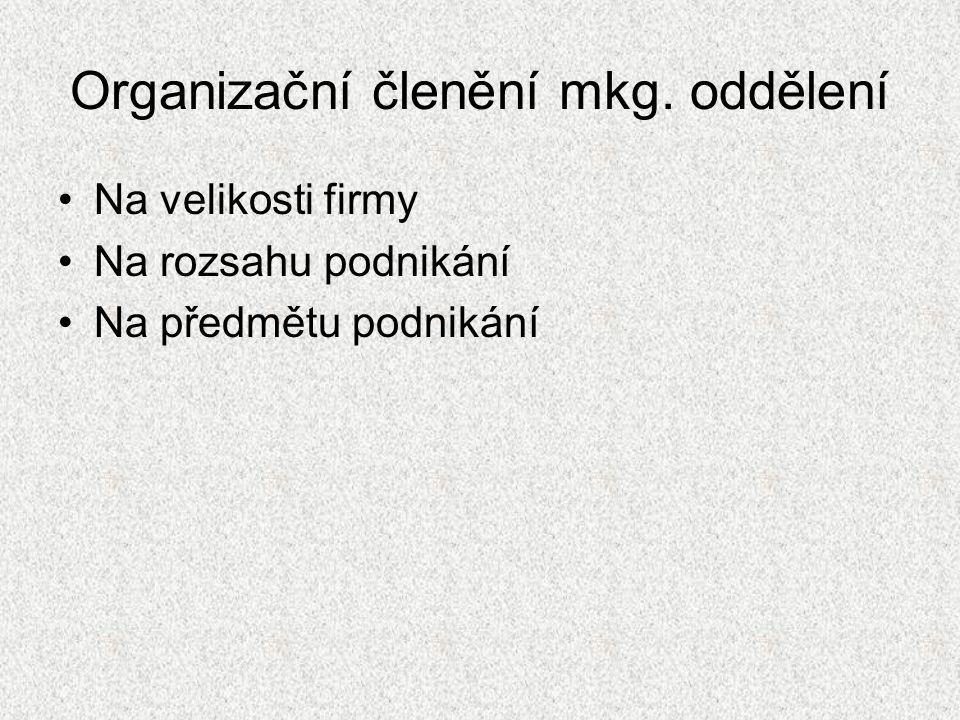 Organizační členění mkg. oddělení Na velikosti firmy Na rozsahu podnikání Na předmětu podnikání