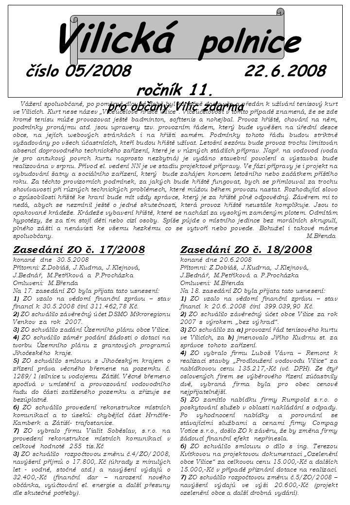 Vilická polnice číslo 05/2008 22.6.2008 ročník 11.