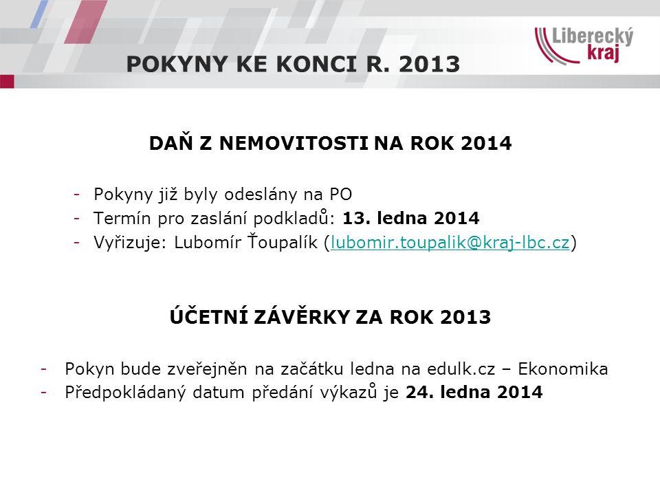 DAŇ Z NEMOVITOSTI NA ROK 2014 -Pokyny již byly odeslány na PO -Termín pro zaslání podkladů: 13. ledna 2014 -Vyřizuje: Lubomír Ťoupalík (lubomir.toupal