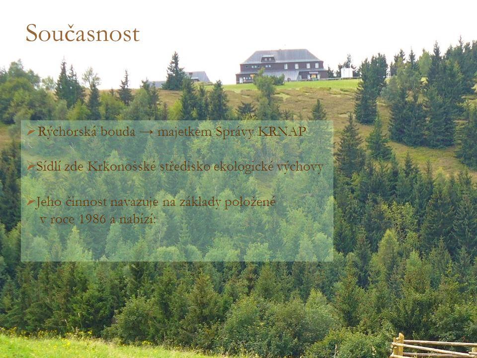 Současnost  R R ýchorská bouda → majetkem Správy KRNAP  Sídlí zde Krkonošské středisko ekologické výchovy  Jeho činnost navazuje na základy položené v roce 1986 a nabízí: