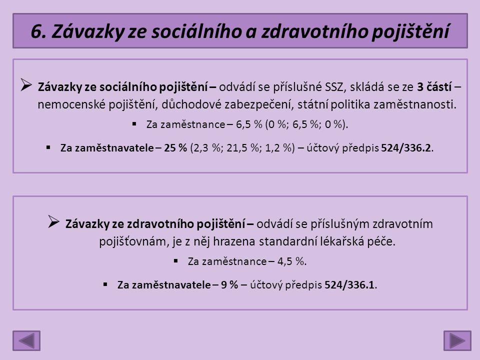 6. Závazky ze sociálního a zdravotního pojištění  Závazky ze sociálního pojištění – odvádí se příslušné SSZ, skládá se ze 3 částí – nemocenské pojišt