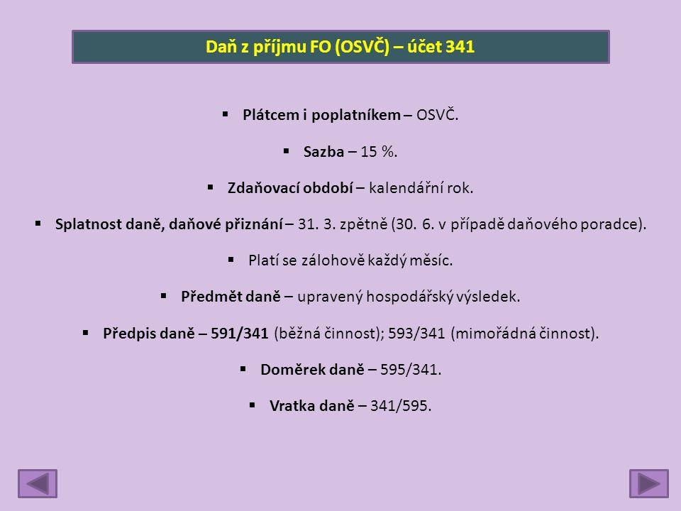Daň z příjmu FO (OSVČ) – účet 341  Plátcem i poplatníkem – OSVČ.