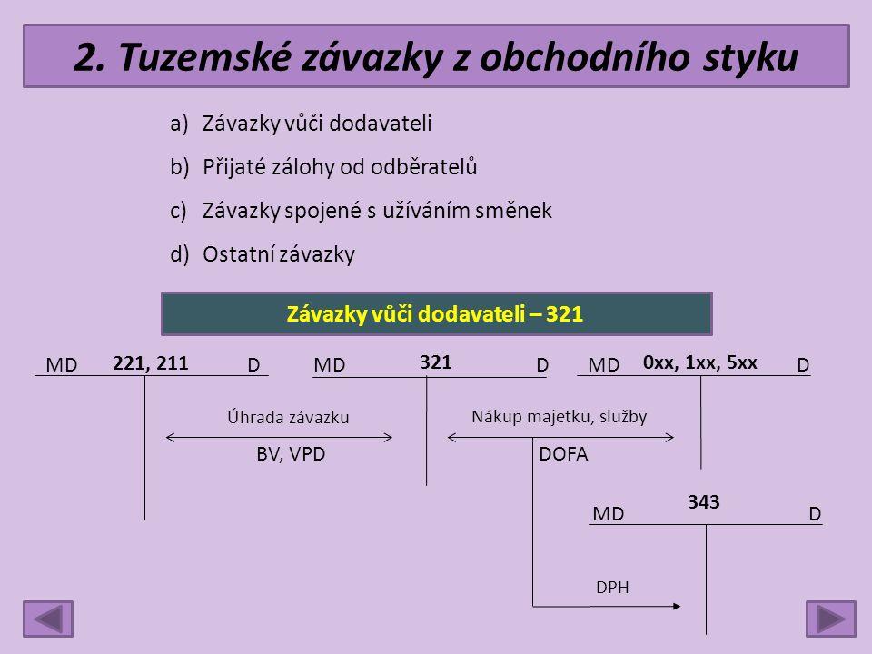 2. Tuzemské závazky z obchodního styku a)Závazky vůči dodavateli b)Přijaté zálohy od odběratelů c)Závazky spojené s užíváním směnek d)Ostatní závazky