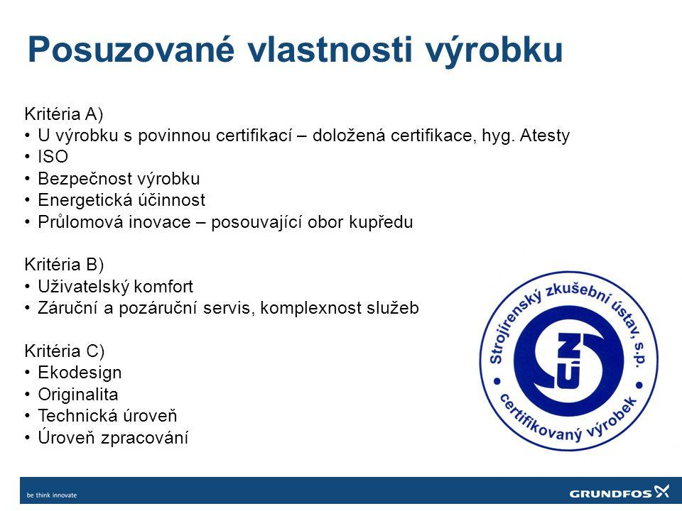 Posuzované vlastnosti výrobku Kritéria A) U výrobku s povinnou certifikací – doložená certifikace, hyg.