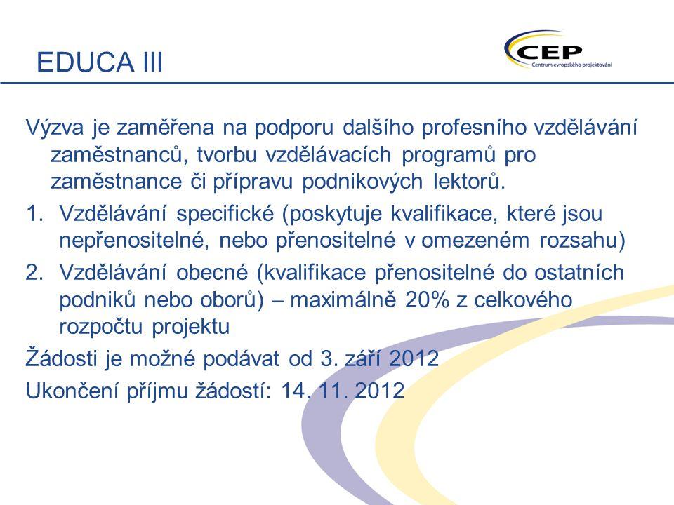 EDUCA III Výzva je zaměřena na podporu dalšího profesního vzdělávání zaměstnanců, tvorbu vzdělávacích programů pro zaměstnance či přípravu podnikových lektorů.