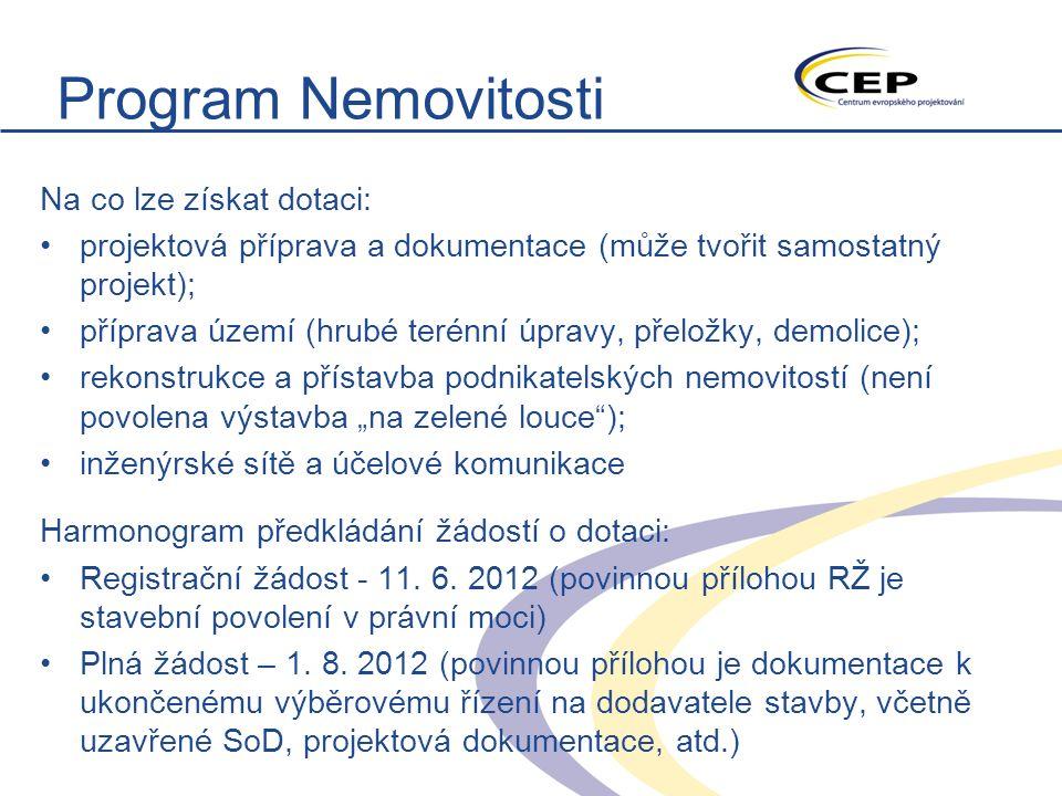"""Program Nemovitosti Na co lze získat dotaci: projektová příprava a dokumentace (může tvořit samostatný projekt); příprava území (hrubé terénní úpravy, přeložky, demolice); rekonstrukce a přístavba podnikatelských nemovitostí (není povolena výstavba """"na zelené louce ); inženýrské sítě a účelové komunikace Harmonogram předkládání žádostí o dotaci: Registrační žádost - 11."""