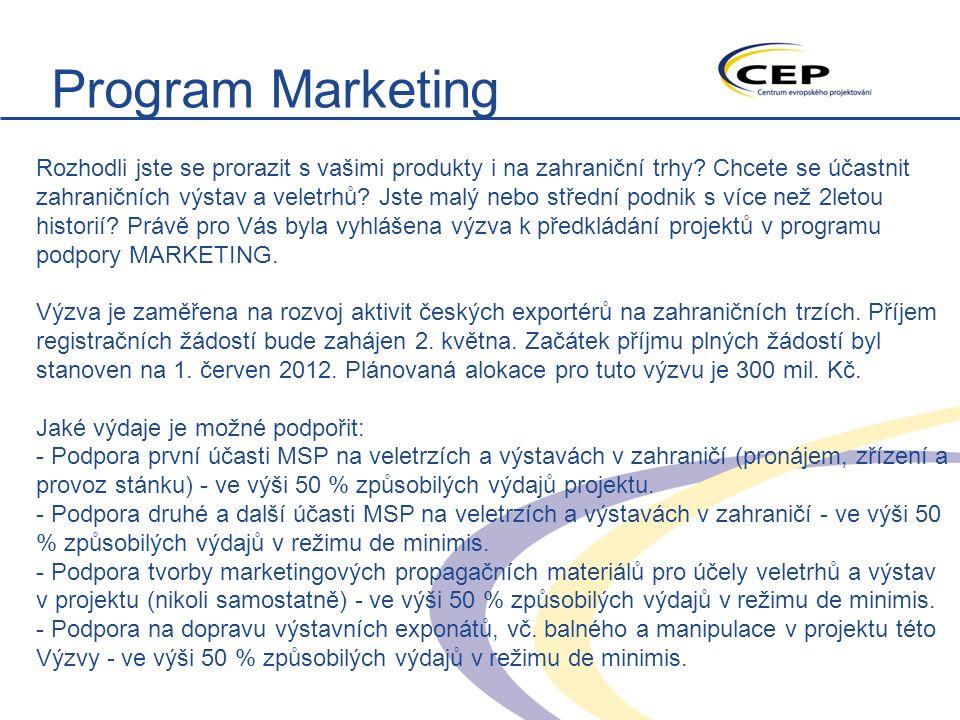 Program Marketing Rozhodli jste se prorazit s vašimi produkty i na zahraniční trhy.