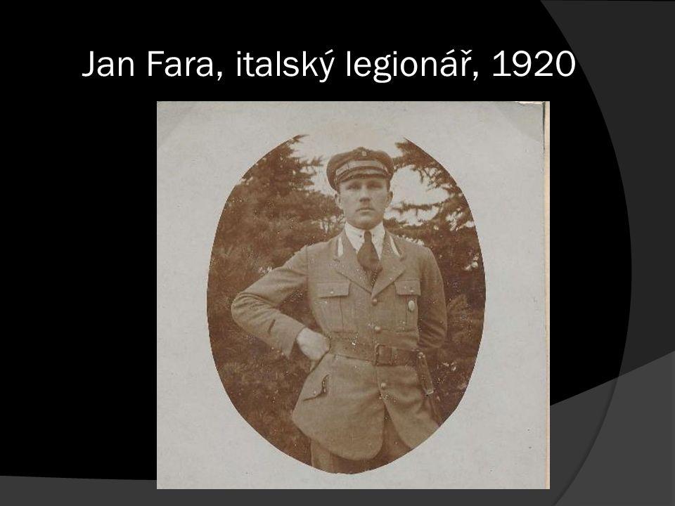 Jan Fara, italský legionář, 1920