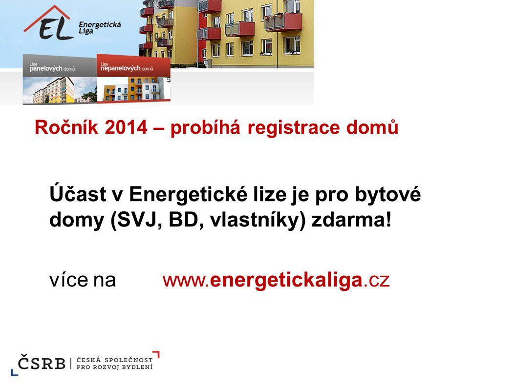 Ročník 2014 – probíhá registrace domů Účast v Energetické lize je pro bytové domy (SVJ, BD, vlastníky) zdarma! více na www.energetickaliga.cz