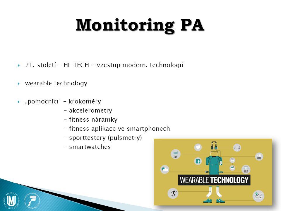"""Monitoring PA  21. století - HI-TECH – vzestup modern. technologií  wearable technology  """"pomocníci"""" – krokoměry - akcelerometry - fitness náramky"""