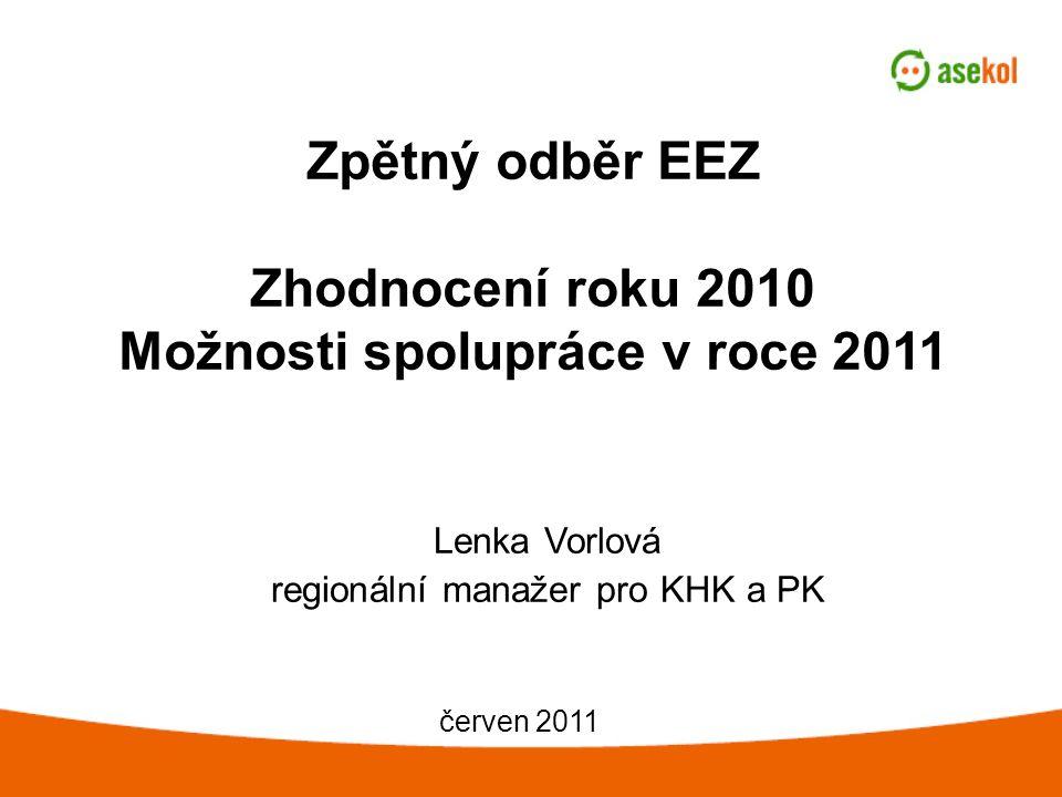 Zpětný odběr EEZ Zhodnocení roku 2010 Možnosti spolupráce v roce 2011 Lenka Vorlová regionální manažer pro KHK a PK červen 2011