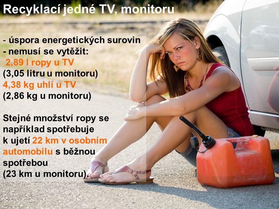 Recyklací jedné TV, monitoru - úspora energetických surovin - nemusí se vytěžit: 2,89 l ropy u TV (3,05 litru u monitoru) 4,38 kg uhlí u TV (2,86 kg u monitoru) Stejné množství ropy se například spotřebuje k ujetí 22 km v osobním automobilu s běžnou spotřebou (23 km u monitoru).