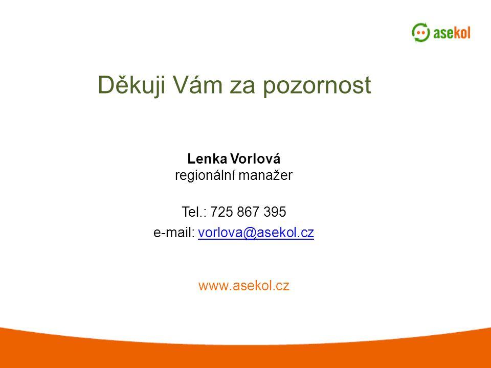 Děkuji Vám za pozornost www.asekol.cz Lenka Vorlová regionální manažer Tel.: 725 867 395 e-mail: vorlova@asekol.czvorlova@asekol.cz
