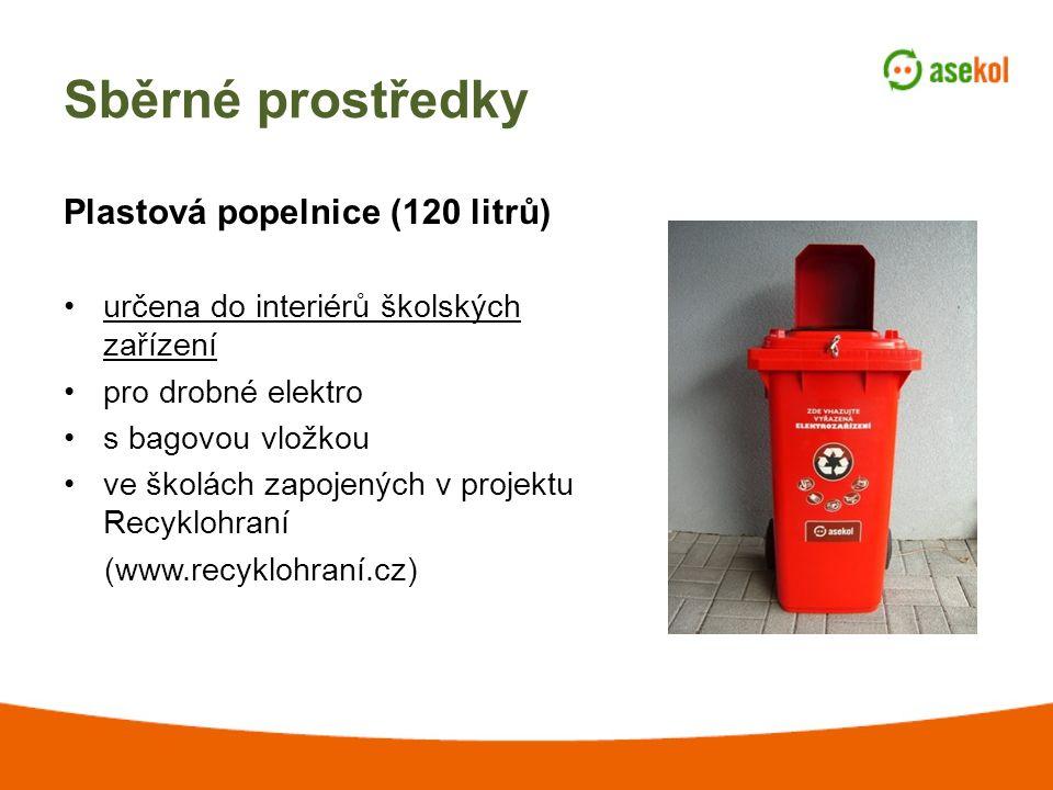 Sběrné prostředky Plastová popelnice (120 litrů) určena do interiérů školských zařízení pro drobné elektro s bagovou vložkou ve školách zapojených v projektu Recyklohraní (www.recyklohraní.cz)