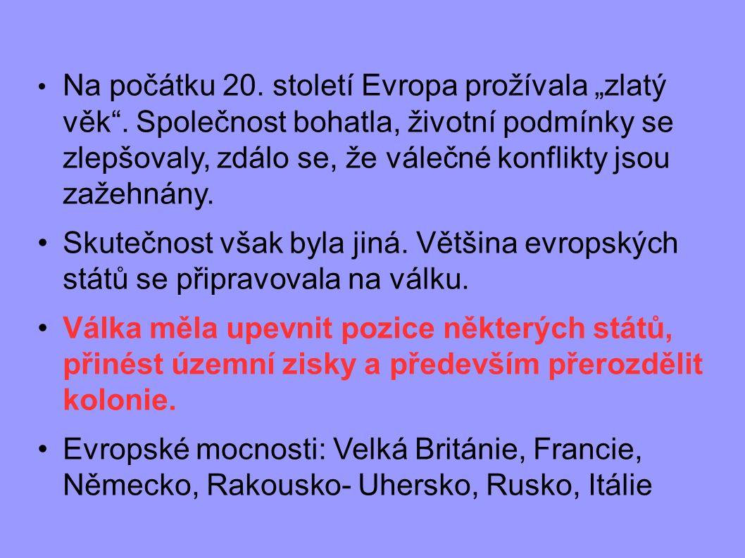 Vznik vojenských bloků Trojdohoda : Velká Británie + Francie + Rusko Velká Británie + Francie + Rusko Trojspolek: Německo + Rakousko-Uhersko + Itálie Německo + Rakousko-Uhersko + Itálie