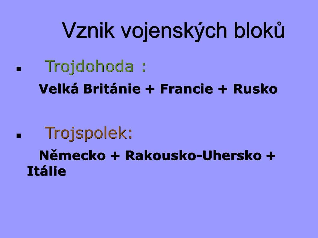 Vznik vojenských bloků Trojdohoda : Velká Británie + Francie + Rusko Velká Británie + Francie + Rusko Trojspolek: Německo + Rakousko-Uhersko + Itálie