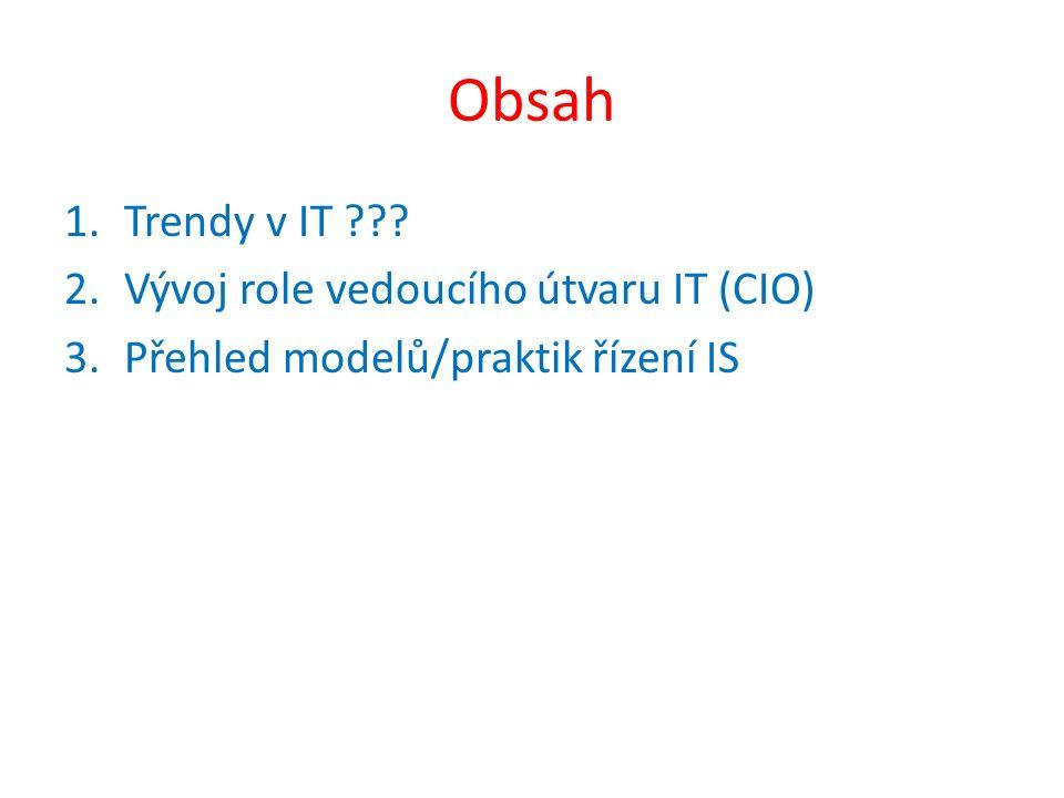 Obsah 1.Trendy v IT ??? 2.Vývoj role vedoucího útvaru IT (CIO) 3.Přehled modelů/praktik řízení IS