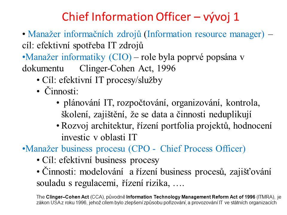 Chief Information Officer – vývoj 1 Manažer informačních zdrojů (Information resource manager) – cíl: efektivní spotřeba IT zdrojů Manažer informatiky (CIO) – role byla poprvé popsána v dokumentuClinger-Cohen Act, 1996 Cíl: efektivní IT procesy/služby Činnosti: plánování IT, rozpočtování, organizování, kontrola, školení, zajištění, že se data a činnosti neduplikují Rozvoj architektur, řízení portfolia projektů, hodnocení investic v oblasti IT Manažer business procesu (CPO - Chief Process Officer) Cíl: efektivní business procesy Činnosti: modelování a řízení business procesů, zajišťování souladu s regulacemi, řízení rizika, ….