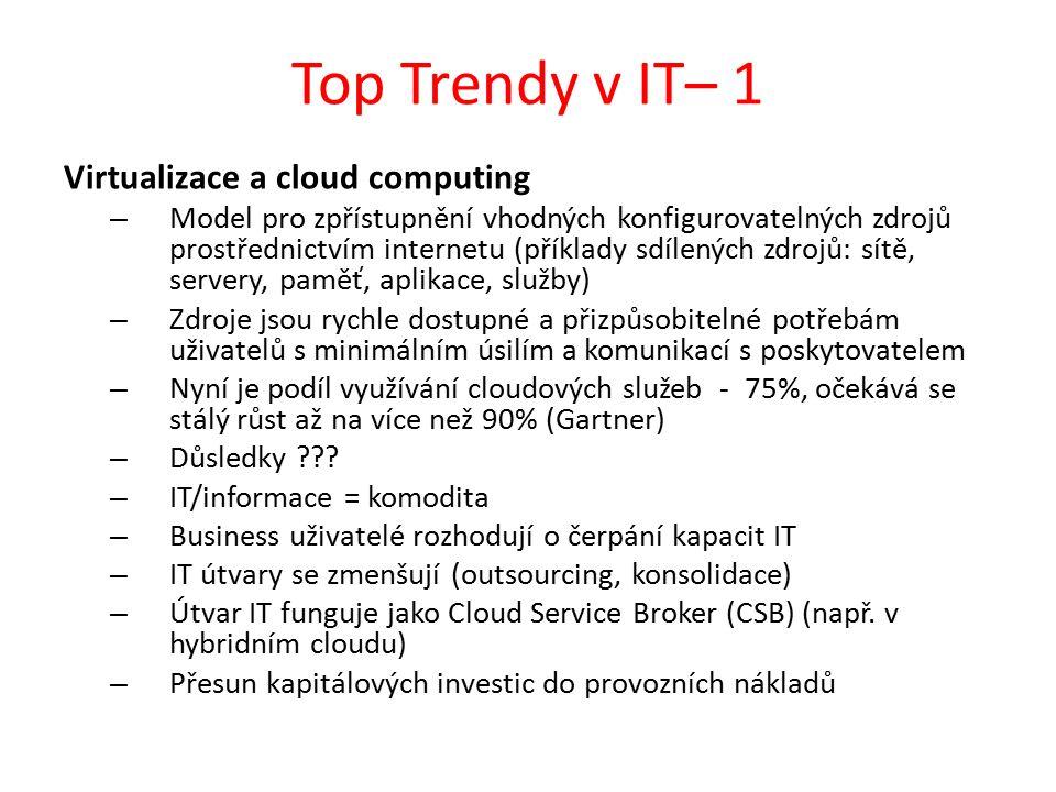 Top Trendy v IT– 1 Virtualizace a cloud computing – Model pro zpřístupnění vhodných konfigurovatelných zdrojů prostřednictvím internetu (příklady sdílených zdrojů: sítě, servery, paměť, aplikace, služby) – Zdroje jsou rychle dostupné a přizpůsobitelné potřebám uživatelů s minimálním úsilím a komunikací s poskytovatelem – Nyní je podíl využívání cloudových služeb - 75%, očekává se stálý růst až na více než 90% (Gartner) – Důsledky .