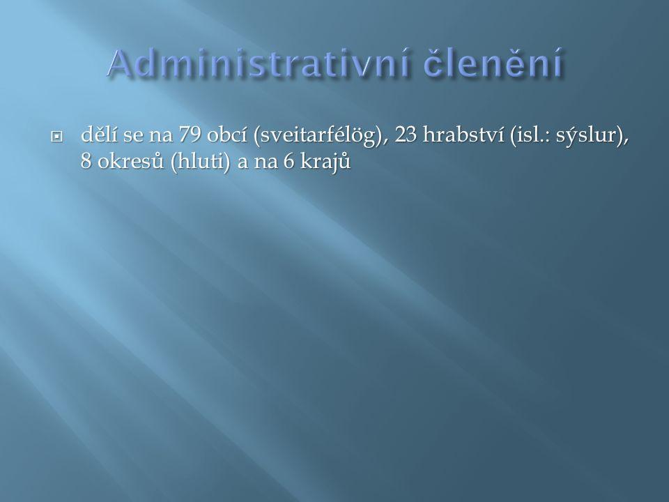  dělí se na 79 obcí (sveitarfélög), 23 hrabství (isl.: sýslur), 8 okresů (hluti) a na 6 krajů