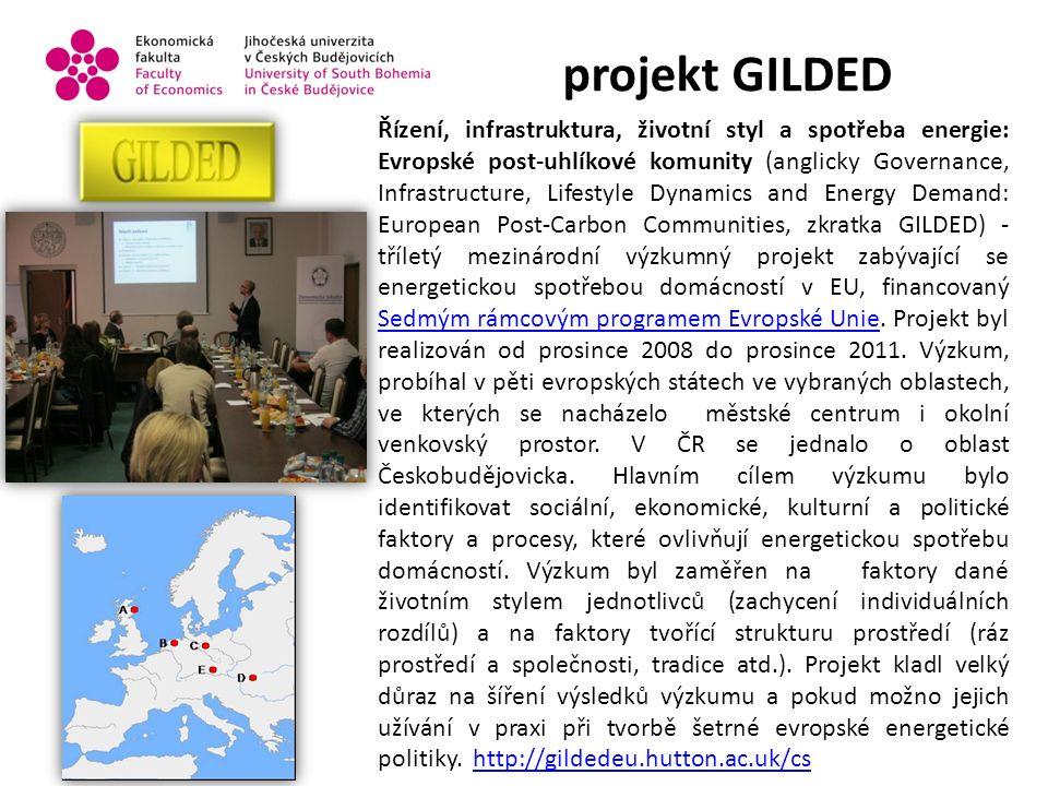 projekt GILDED Řízení, infrastruktura, životní styl a spotřeba energie: Evropské post-uhlíkové komunity (anglicky Governance, Infrastructure, Lifestyle Dynamics and Energy Demand: European Post-Carbon Communities, zkratka GILDED) - tříletý mezinárodní výzkumný projekt zabývající se energetickou spotřebou domácností v EU, financovaný Sedmým rámcovým programem Evropské Unie.