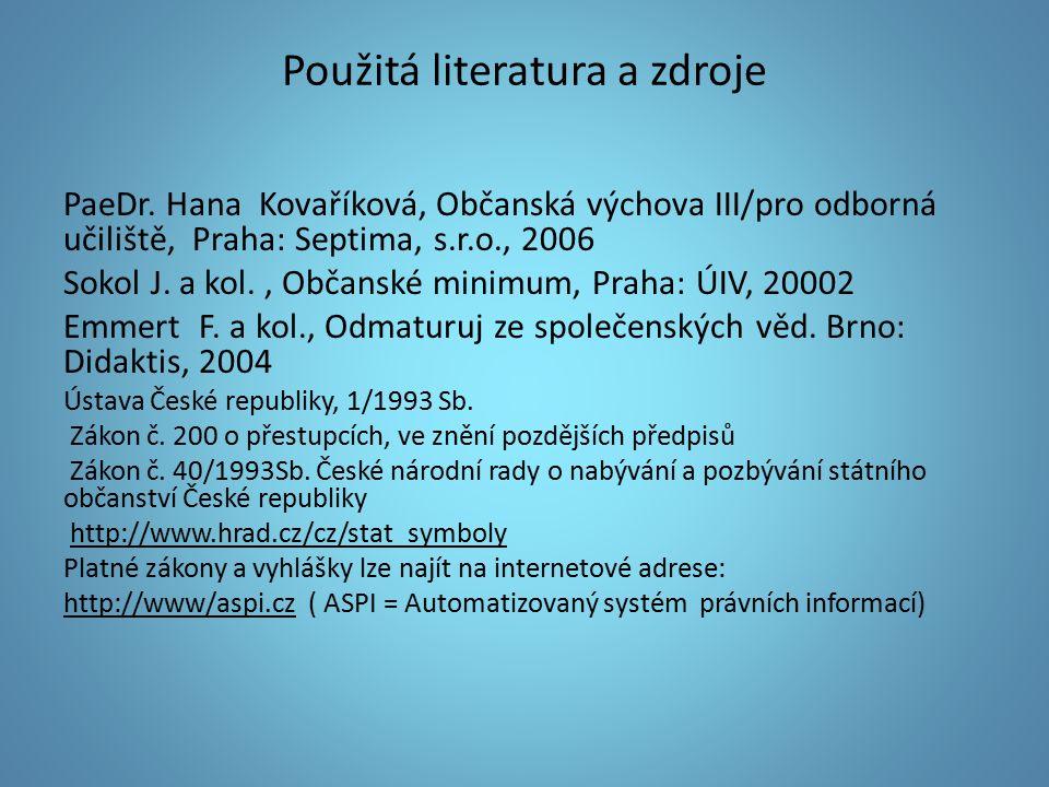 Použitá literatura a zdroje PaeDr.
