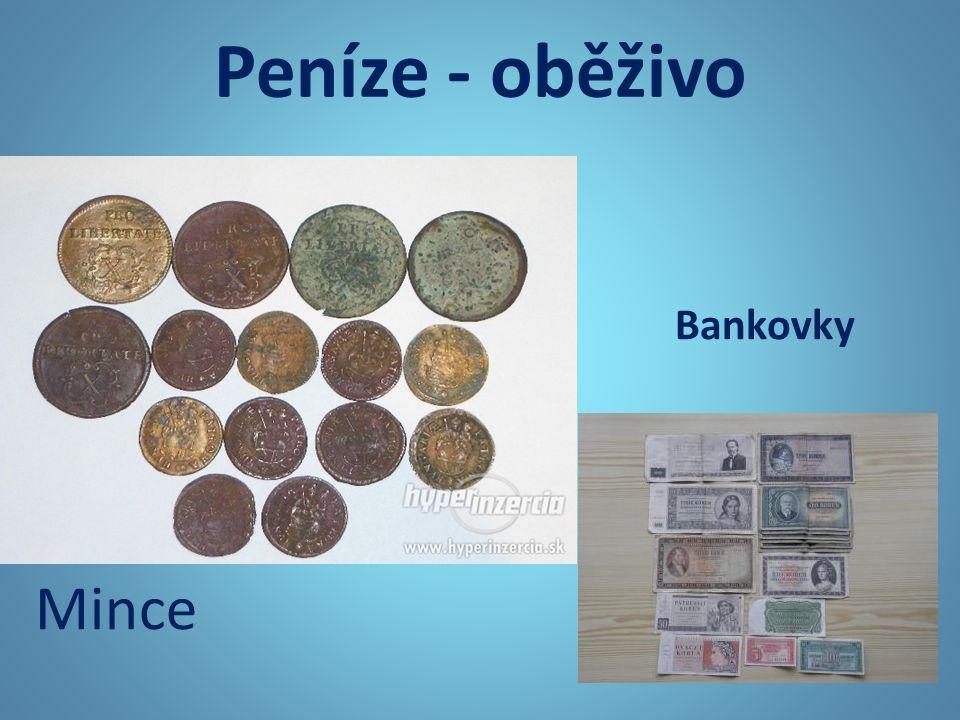 Peníze - oběživo Bankovky Mince