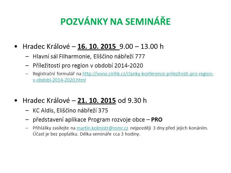 POZVÁNKY NA SEMINÁŘE Hradec Králové – 16.10.