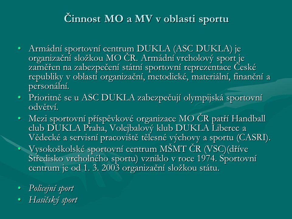 Činnost MO a MV v oblasti sportu Armádní sportovní centrum DUKLA (ASC DUKLA) je organizační složkou MO ČR.