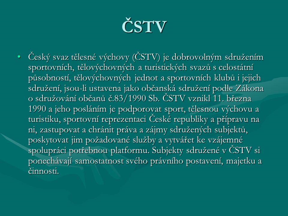ČSTV Český svaz tělesné výchovy (ČSTV) je dobrovolným sdružením sportovních, tělovýchovných a turistických svazů s celostátní působností, tělovýchovných jednot a sportovních klubů i jejich sdružení, jsou-li ustavena jako občanská sdružení podle Zákona o sdružování občanů č.83/1990 Sb.