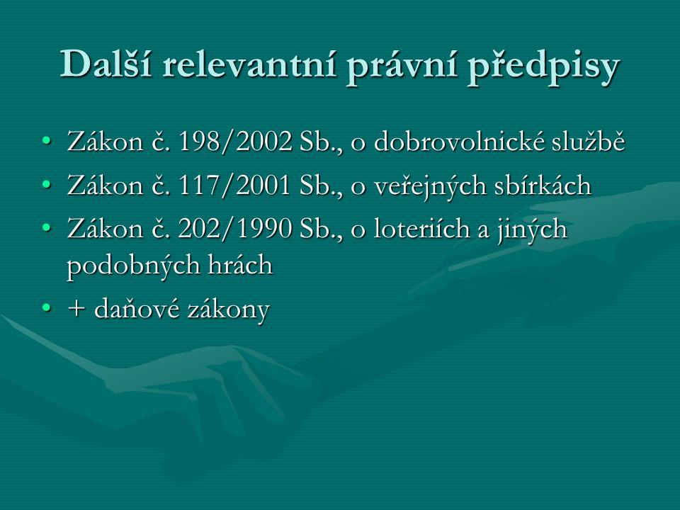 Další relevantní právní předpisy Zákon č. 198/2002 Sb., o dobrovolnické služběZákon č.