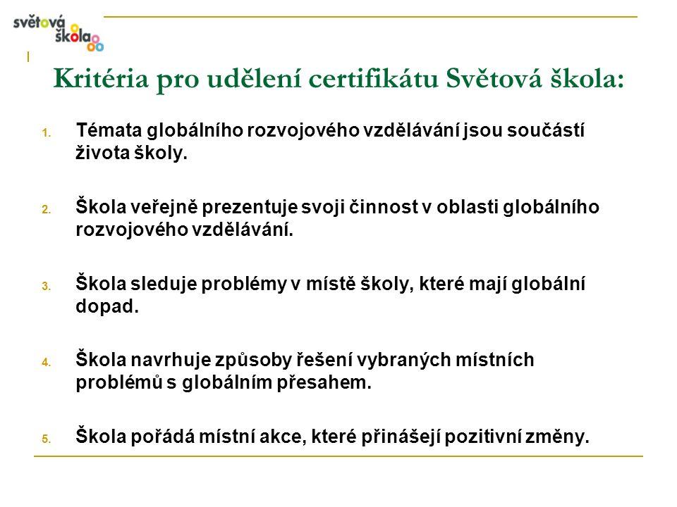 Kritéria pro udělení certifikátu Světová škola: 1. Témata globálního rozvojového vzdělávání jsou součástí života školy. 2. Škola veřejně prezentuje sv