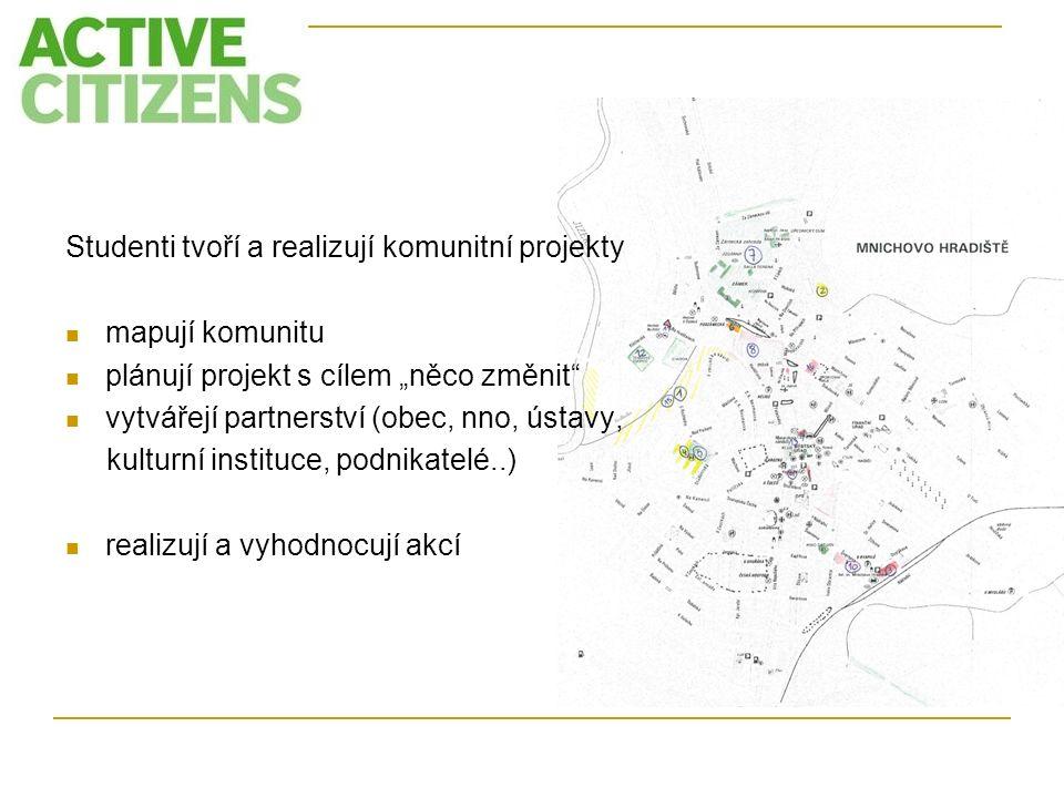 """Studenti tvoří a realizují komunitní projekty mapují komunitu plánují projekt s cílem """"něco změnit"""" vytvářejí partnerství (obec, nno, ústavy, kulturní"""