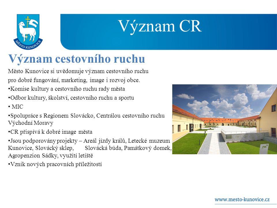 Význam CR Význam cestovního ruchu Město Kunovice si uvědomuje význam cestovního ruchu pro dobré fungování, marketing, image i rozvoj obce.