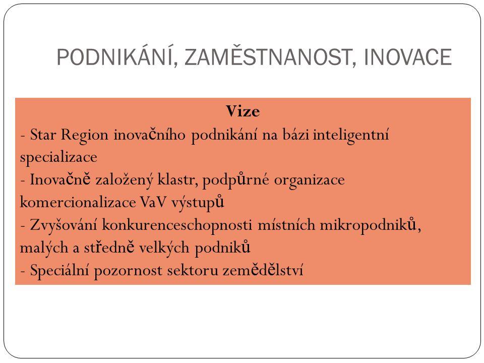 PODNIKÁNÍ, ZAMĚSTNANOST, INOVACE Vize - Star Region inova č ního podnikání na bázi inteligentní specializace - Inova č n ě založený klastr, podp ů rné