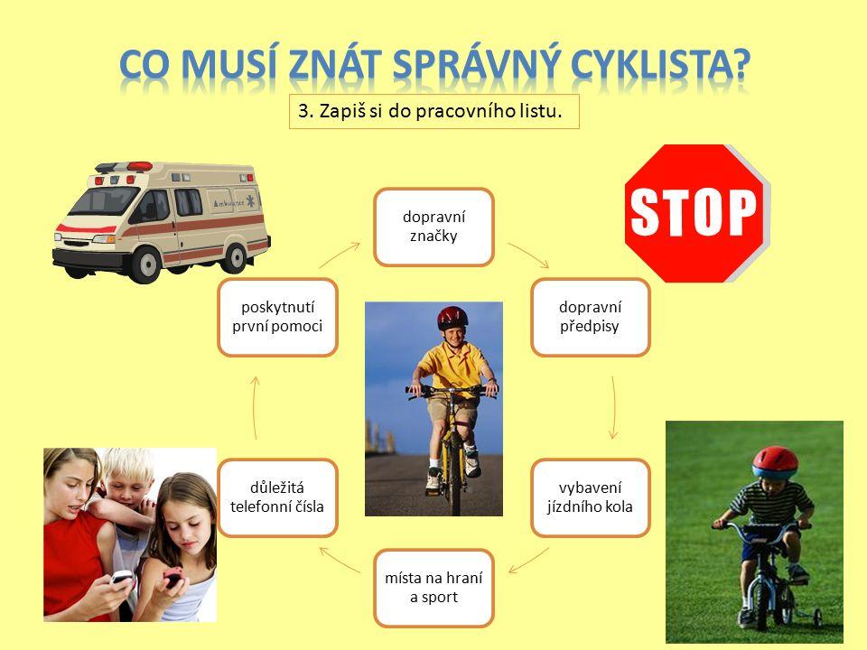 dopravní značky dopravní předpisy vybavení jízdního kola místa na hraní a sport důležitá telefonní čísla poskytnutí první pomoci 3.