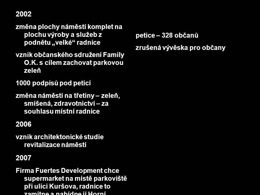 """2002 změna plochy náměstí komplet na plochu výroby a služeb z podnětu """"velké radnice vznik občanského sdružení Family O.K."""
