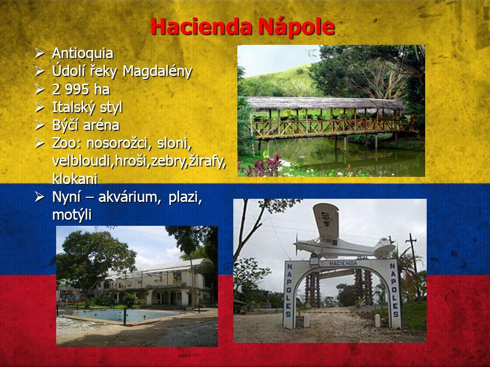 Hacienda Nápole  Antioquia  Údolí řeky Magdalény  2 995 ha  Italský styl  Býčí aréna  Zoo: nosorožci, sloni, velbloudi,hroši,zebry,žirafy, klokani  Nyní – akvárium, plazi, motýli