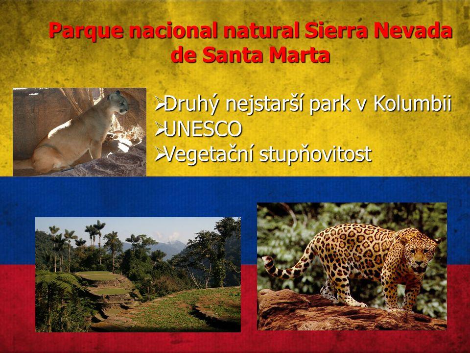 Parque nacional natural Sierra Nevada de Santa Marta  Druhý nejstarší park v Kolumbii  UNESCO  Vegetační stupňovitost