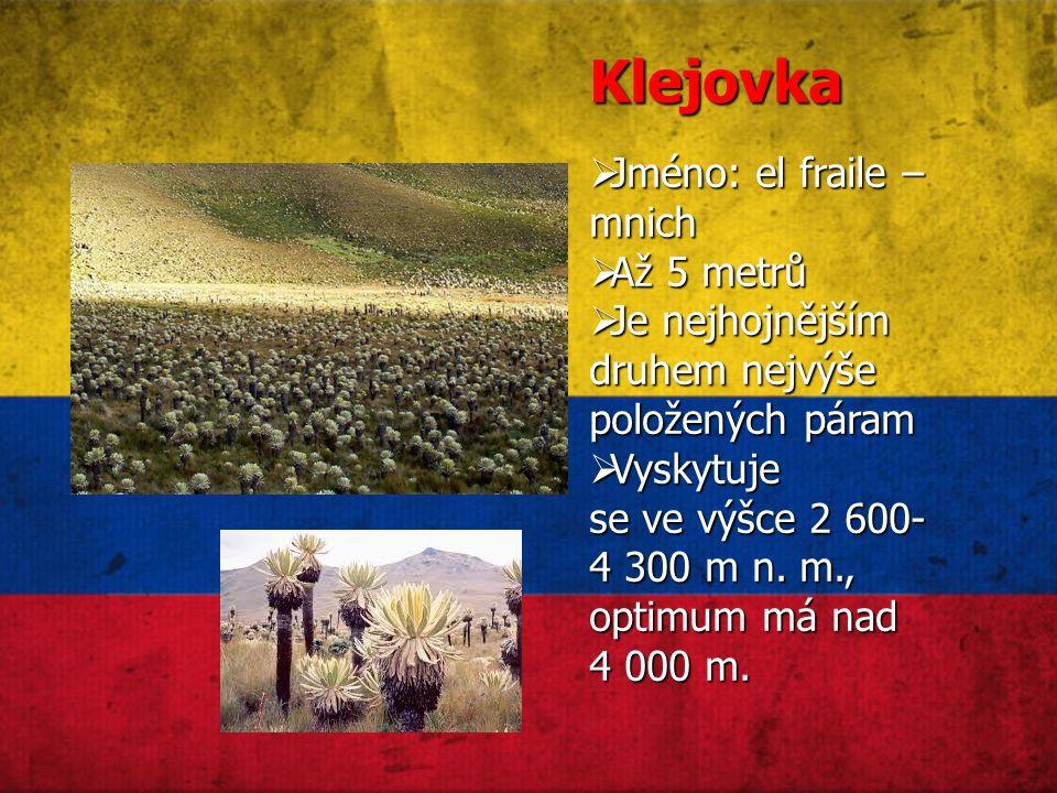 Klejovka  Jméno: el fraile – mnich  Až 5 metrů  Je nejhojnějším druhem nejvýše položených páram  Vyskytuje se ve výšce 2 600- 4 300 m n.