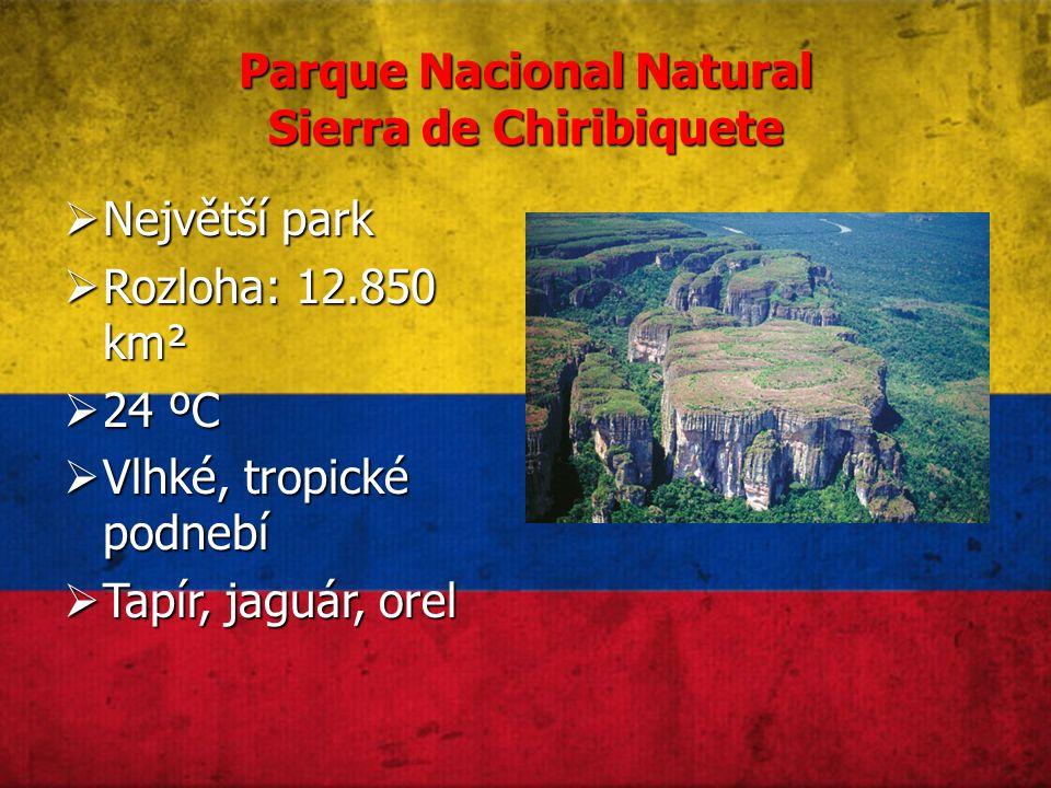 Parque Nacional Natural Sierra de Chiribiquete  Největší park  Rozloha: 12.850 km²  24 ºC  Vlhké, tropické podnebí  Tapír, jaguár, orel