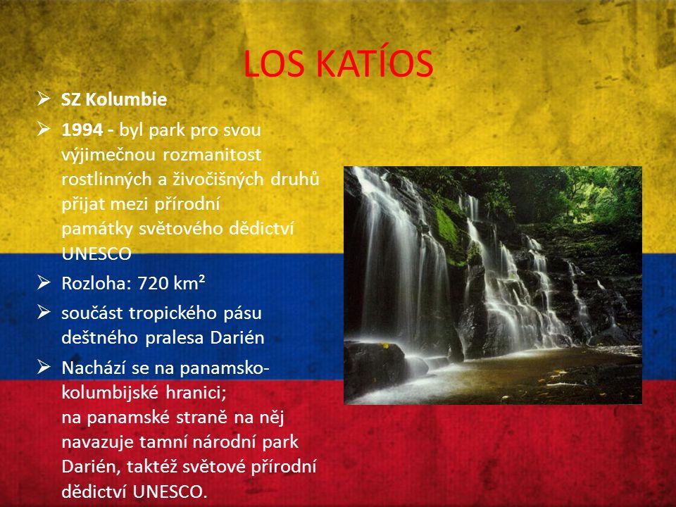 LOS KATÍOS  SZ Kolumbie  1994 - byl park pro svou výjimečnou rozmanitost rostlinných a živočišných druhů přijat mezi přírodní památky světového dědictví UNESCO  Rozloha: 720 km²  součást tropického pásu deštného pralesa Darién  Nachází se na panamsko- kolumbijské hranici; na panamské straně na něj navazuje tamní národní park Darién, taktéž světové přírodní dědictví UNESCO.