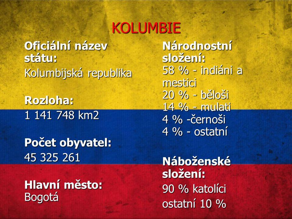 KOLUMBIE Oficiální název státu: Kolumbijská republika Rozloha: 1 141 748 km2 Počet obyvatel: 45 325 261 Hlavní město: Bogotá Národnostní složení: 58 % - indiáni a mestici 20 % - běloši 14 % - mulati 4 % -černoši 4 % - ostatní Náboženské složení: 90 % katolíci ostatní 10 %