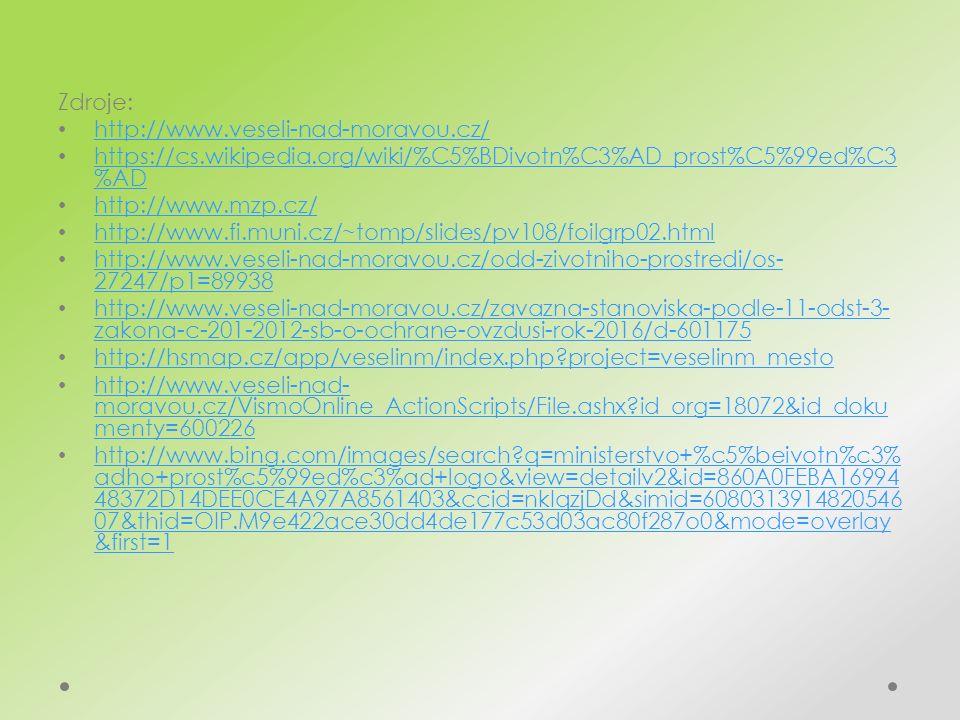 Zdroje: http://www.veseli-nad-moravou.cz/ https://cs.wikipedia.org/wiki/%C5%BDivotn%C3%AD_prost%C5%99ed%C3 %AD https://cs.wikipedia.org/wiki/%C5%BDivotn%C3%AD_prost%C5%99ed%C3 %AD http://www.mzp.cz/ http://www.fi.muni.cz/~tomp/slides/pv108/foilgrp02.html http://www.veseli-nad-moravou.cz/odd-zivotniho-prostredi/os- 27247/p1=89938 http://www.veseli-nad-moravou.cz/odd-zivotniho-prostredi/os- 27247/p1=89938 http://www.veseli-nad-moravou.cz/zavazna-stanoviska-podle-11-odst-3- zakona-c-201-2012-sb-o-ochrane-ovzdusi-rok-2016/d-601175 http://www.veseli-nad-moravou.cz/zavazna-stanoviska-podle-11-odst-3- zakona-c-201-2012-sb-o-ochrane-ovzdusi-rok-2016/d-601175 http://hsmap.cz/app/veselinm/index.php project=veselinm_mesto http://www.veseli-nad- moravou.cz/VismoOnline_ActionScripts/File.ashx id_org=18072&id_doku menty=600226 http://www.veseli-nad- moravou.cz/VismoOnline_ActionScripts/File.ashx id_org=18072&id_doku menty=600226 http://www.bing.com/images/search q=ministerstvo+%c5%beivotn%c3% adho+prost%c5%99ed%c3%ad+logo&view=detailv2&id=860A0FEBA16994 48372D14DEE0CE4A97A8561403&ccid=nkIqzjDd&simid=6080313914820546 07&thid=OIP.M9e422ace30dd4de177c53d03ac80f287o0&mode=overlay &first=1 http://www.bing.com/images/search q=ministerstvo+%c5%beivotn%c3% adho+prost%c5%99ed%c3%ad+logo&view=detailv2&id=860A0FEBA16994 48372D14DEE0CE4A97A8561403&ccid=nkIqzjDd&simid=6080313914820546 07&thid=OIP.M9e422ace30dd4de177c53d03ac80f287o0&mode=overlay &first=1
