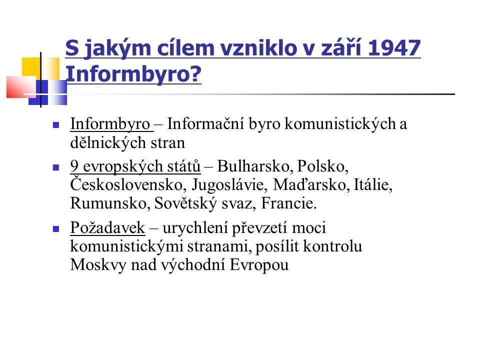 S jakým cílem vzniklo v září 1947 Informbyro.
