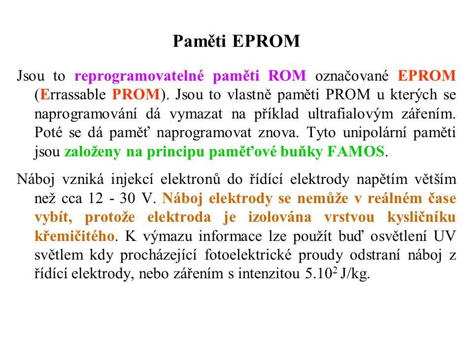 Paměti EPROM Jsou to reprogramovatelné paměti ROM označované EPROM (Errassable PROM).