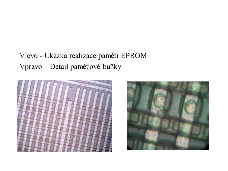 Vlevo - Ukázka realizace paměti EPROM Vpravo – Detail paměťové buňky